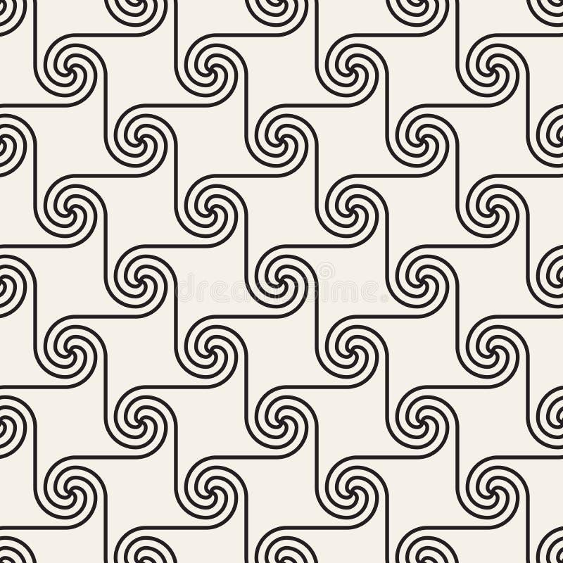 Wektorowy bezszwowy spirala kształtów wzór Nowożytna elegancka abstrakcjonistyczna tekstura Wielostrzałowe geometryczne płytki ilustracja wektor