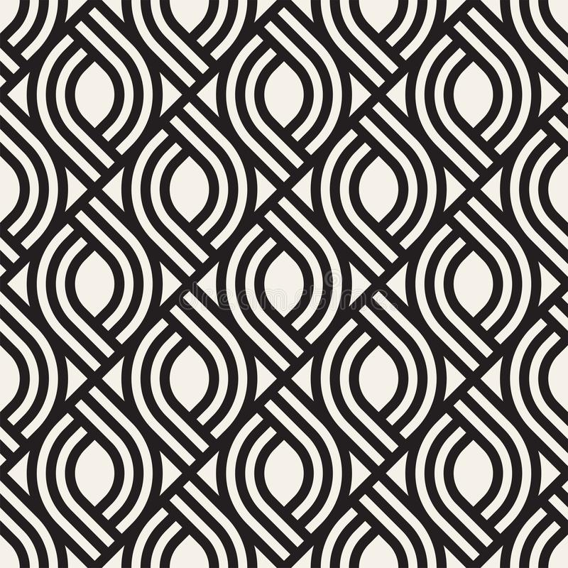 Wektorowy bezszwowy subtelny kratownica wzór Nowożytna elegancka tekstura z monochromatycznym trellis Wielostrzałowa geometryczna ilustracja wektor