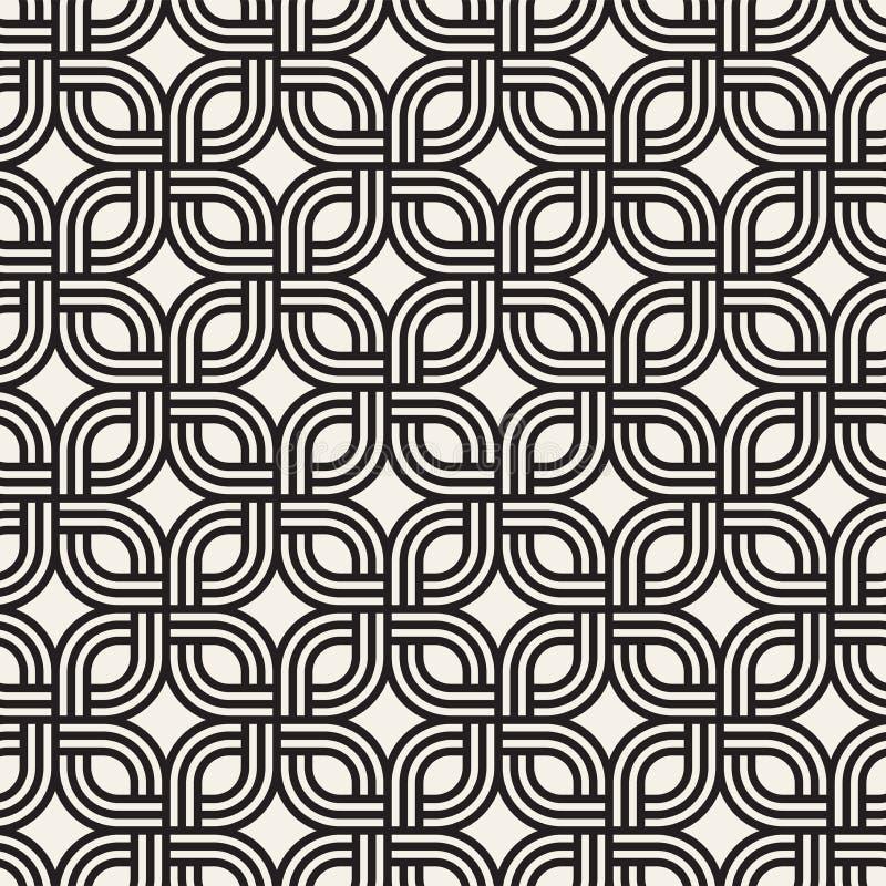 Wektorowy bezszwowy subtelny kratownica wzór Nowożytna elegancka tekstura z monochromatycznym trellis Wielostrzałowa geometryczna royalty ilustracja