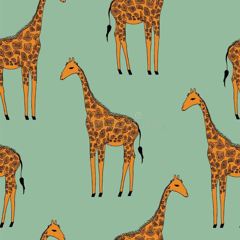 Wektorowy bezszwowy tło żyrafy royalty ilustracja
