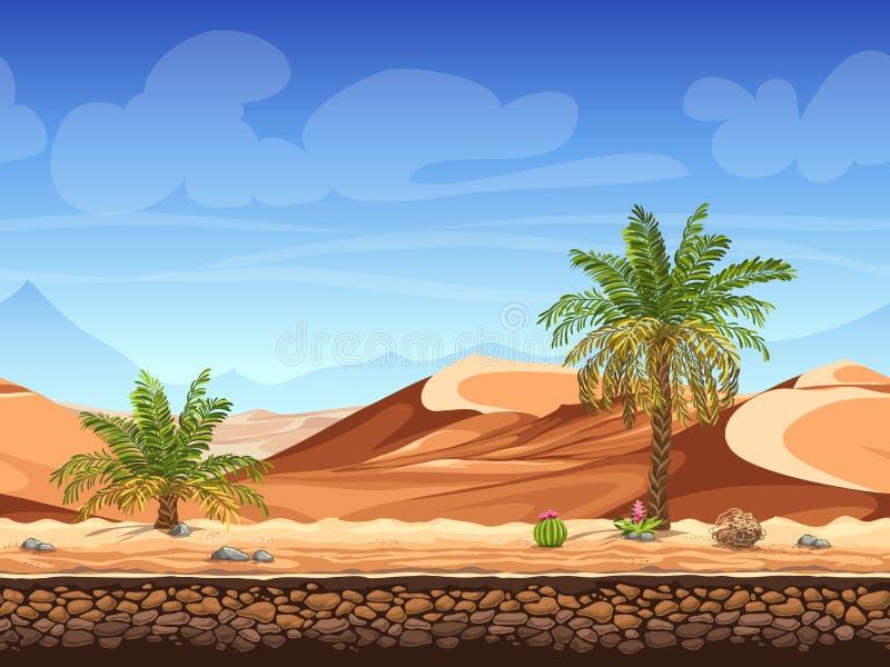 Wektorowy bezszwowy tło - drzewka palmowe w pustyni royalty ilustracja