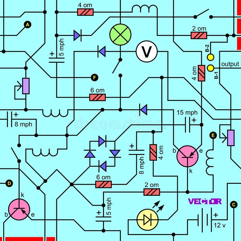 Wektorowy bezszwowy tło elektryczny obwód radiowy przyrząd ilustracja wektor