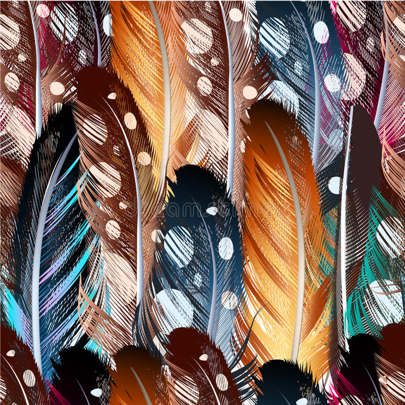 Wektorowy bezszwowy tło z kolorowymi piórkami ilustracja wektor