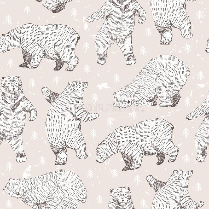 Wektorowy bezszwowy tło z ręka rysującymi śmiesznymi niedźwiedziami ilustracji