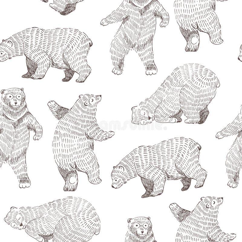 Wektorowy bezszwowy tło z ręka rysującymi śmiesznymi niedźwiedziami Modnisia projekt ilustracji
