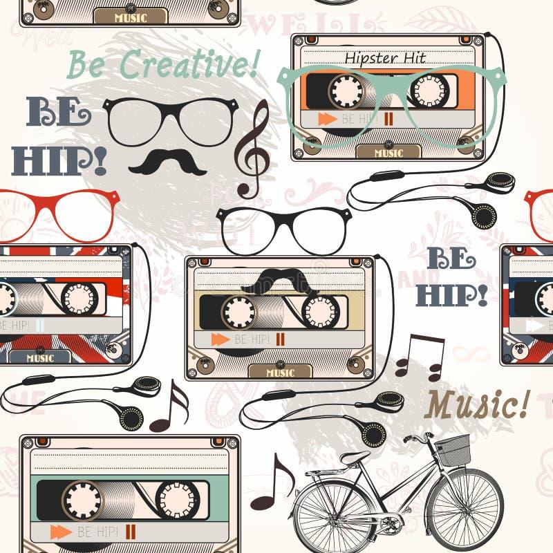 Wektorowy bezszwowy tło z starymi kaseta hełmofonami zauważa bi ilustracji
