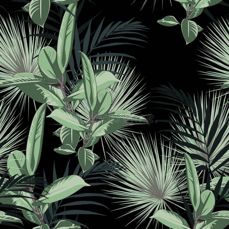 Wektorowy bezszwowy tropikalny wzór, żywy zwrotnika ulistnienie z palmowymi liśćmi i greenery ficus elastica, ilustracja wektor