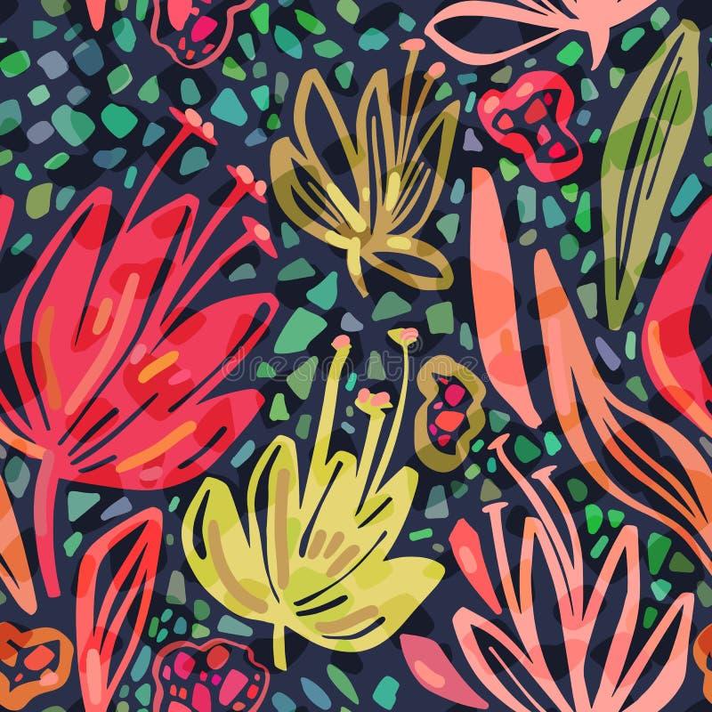 Wektorowy bezszwowy tropikalny wzór z jaskrawymi minimalistic kwiatami na ciemnym tle, żywych kolorów lata kwiecisty druk royalty ilustracja