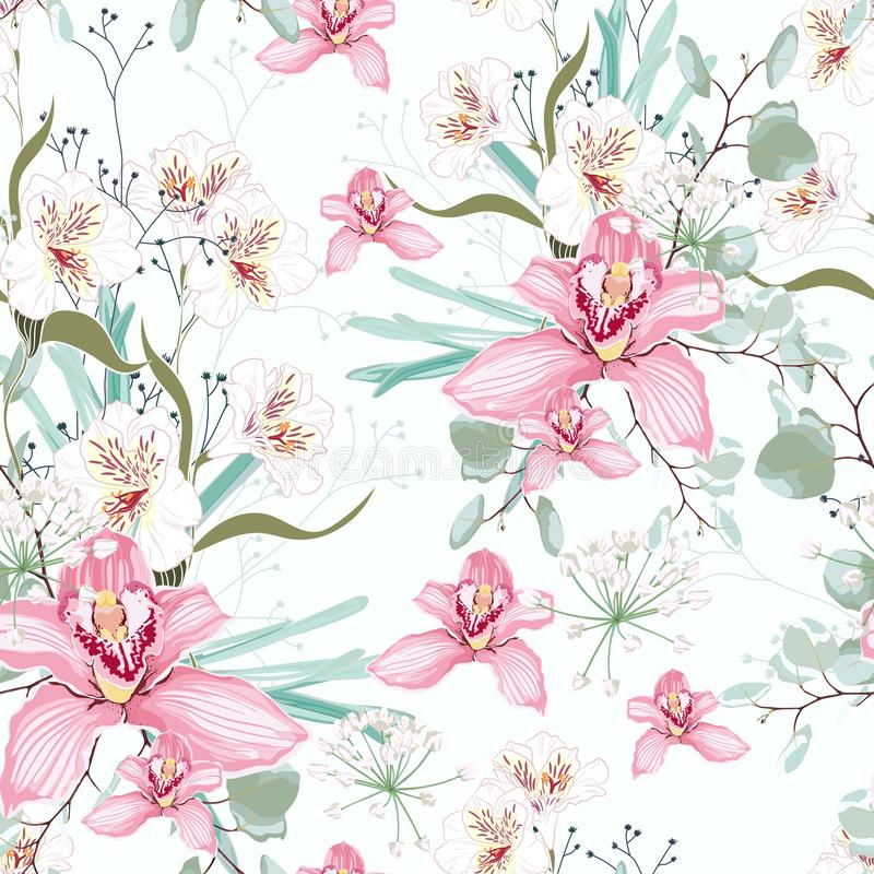 Wektorowy bezszwowy tropikalny wzór z raju storczykowym kwiatem w kwiacie, royalty ilustracja