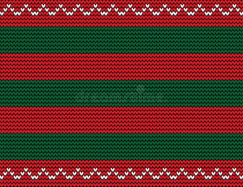 Wektorowy bezszwowy trykotowy tło z zielenią i czerwienią paskuje a ilustracja wektor