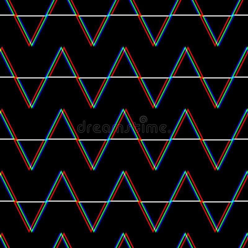 Wektorowy bezszwowy usterka wzór Kolor na czarnym tle Trójboka element Cyfrowego piksla hałasu abstrakcjonistyczny projekt ilustracja wektor