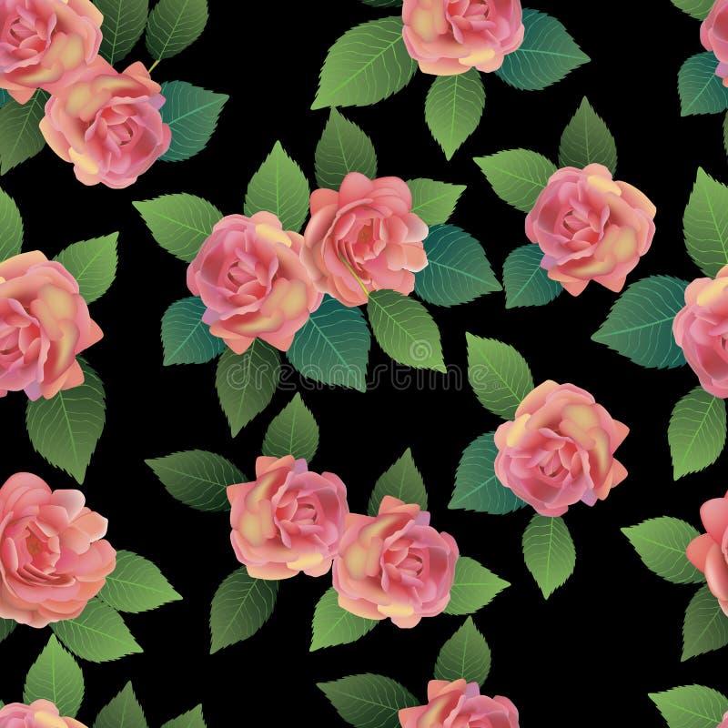 Wektorowy bezszwowy wiosny tło z bielem i menchiami kwitnie z zieleni i koloru żółtego liśćmi ilustracja wektor