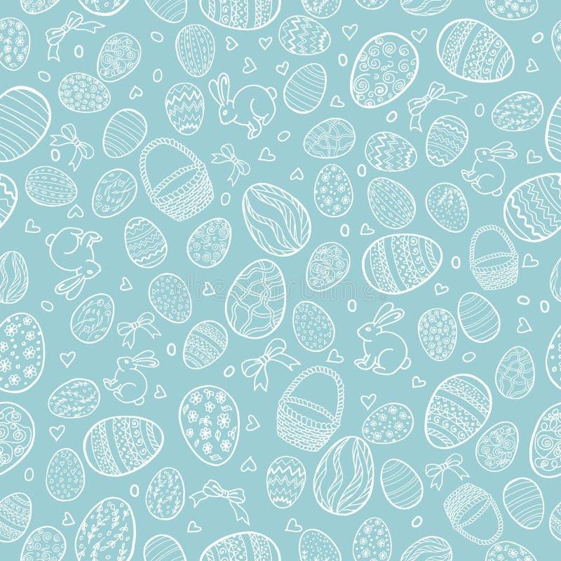 Wektorowy bezszwowy wzór dla szczęśliwego Wielkanocnego dnia z dekoracyjnymi jajkami ilustracji