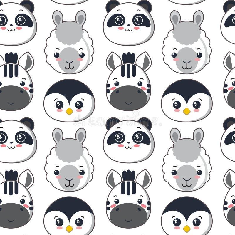 Wektorowy bezszwowy wzór z ślicznym czarny i biały zwierzęciem stawia czoło royalty ilustracja