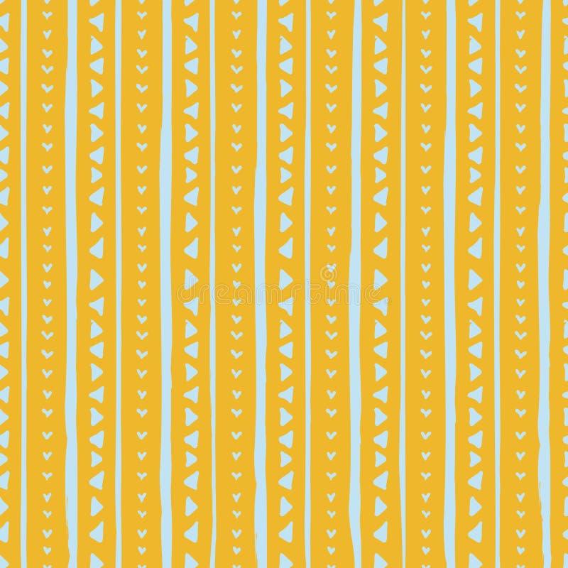 Wektorowy bezszwowy wzór z handdrawn trójbokami i lampasami Wręcza patroszonych błękitnych lampasy i trójboki na żółtym tle ilustracji