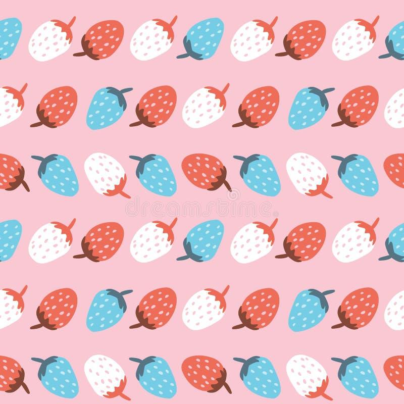 Wektorowy bezszwowy wzór śliczna kolorowa truskawka w rzędzie fotografia royalty free