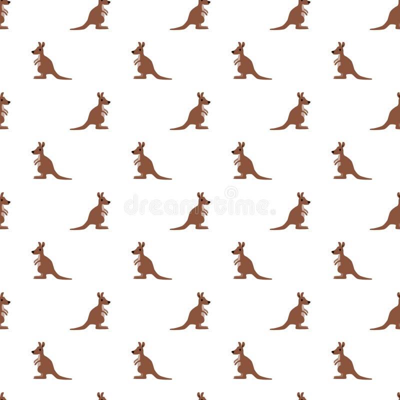 Wektorowy bezszwowy wzór śliczny kangur na białym tle obraz royalty free
