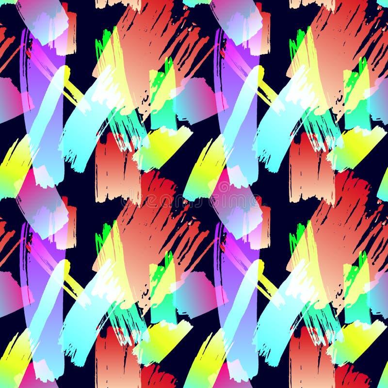 Wektorowy Bezszwowy wzór, abstrakta muśnięcia uderzenia, Grunge tło, Kolorowa ilustracja, tkanina druk ilustracja wektor