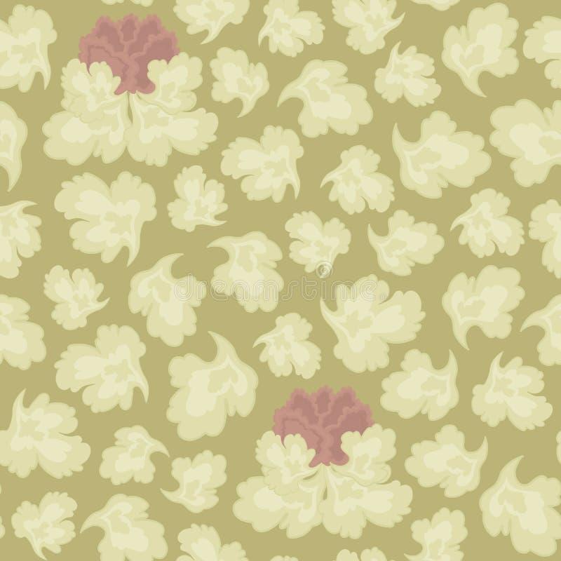Wektorowy bezszwowy wzór barwiący liście i różowy kwiat na sepiowym tle z kwiecistym ornamentem ilustracji