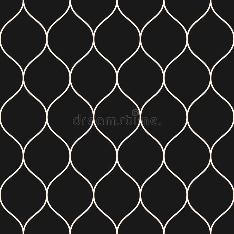 Wektorowy bezszwowy wzór, cienkie faliste linie Czarna pionowo siatka ilustracja wektor