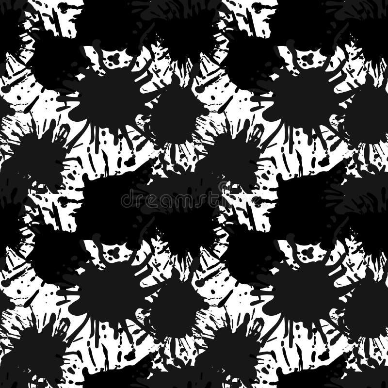 Wektorowy Bezszwowy wzór, Czarny atrament Splatters tło, Artystyczny tło royalty ilustracja
