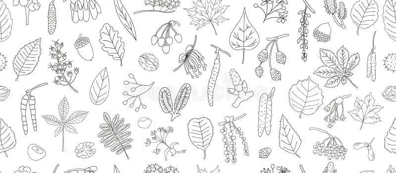 Wektorowy bezszwowy wzór czarny i biały drzewni elementy odizolowywający na białym tle ilustracja wektor