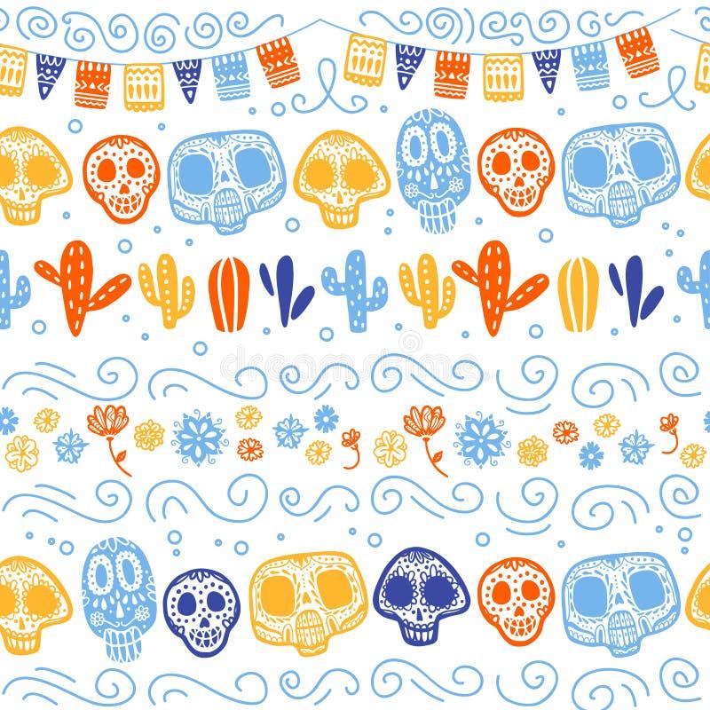 Wektorowy bezszwowy wzór dla Meksyk tradycyjnego świętowania - Dia De Los Muertos