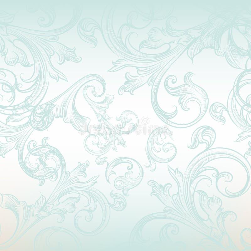 Wektorowy bezszwowy wzór dla tapetowego projekta z kwiecistymi zawijasami ilustracja wektor