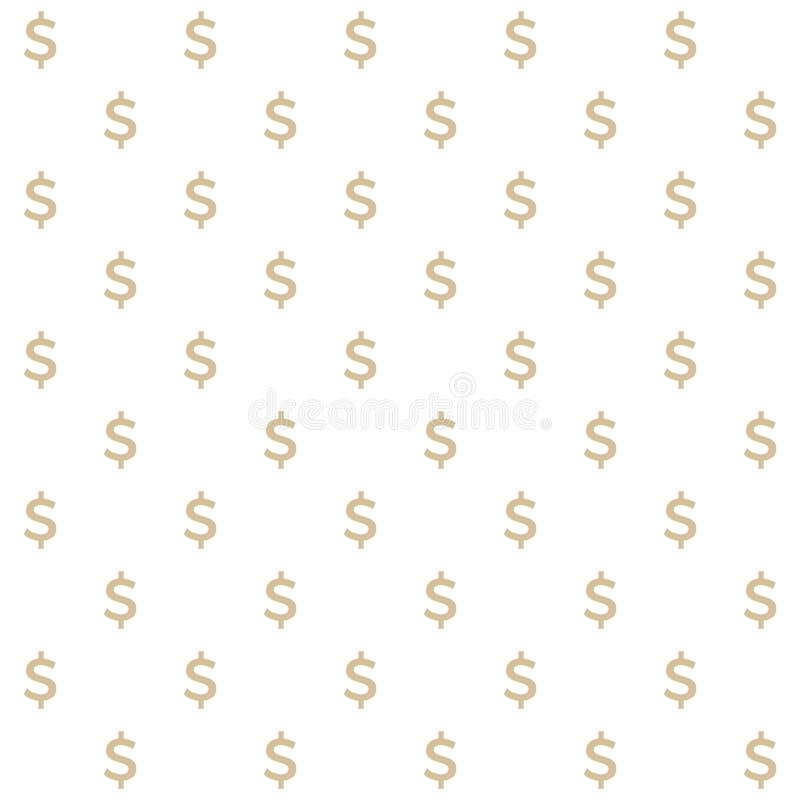 Wektorowy bezszwowy wzór dolara znak, czysty i prosty ilustracja wektor