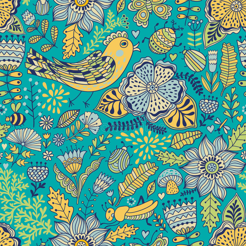 Wektorowy bezszwowy wzór, doodling projekt Ręka remisu liście i kwiaty Żartuje ilustrację, śliczny tło Koloru doodle tło ilustracji