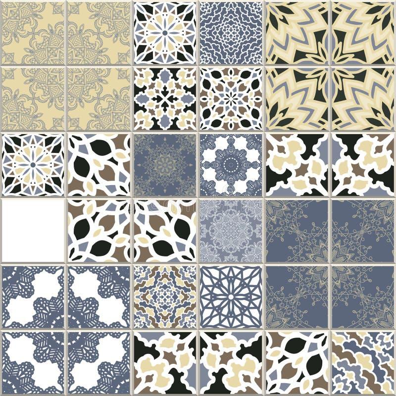 Wektorowy bezszwowy wzór inspiruje tradycyjną ścianą i podłogowymi klasycznymi ceramicznymi płytkami Mozaika patchworku projekt w ilustracja wektor