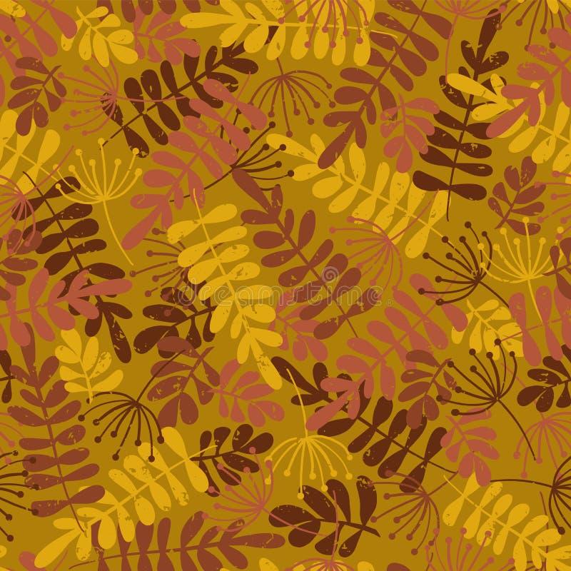 Wektorowy bezszwowy wzór jesień liście Złoty, brązowić liść sylwetki spadku sezonowego tło i różowi, zakłopotany Dla tkaniny ilustracja wektor