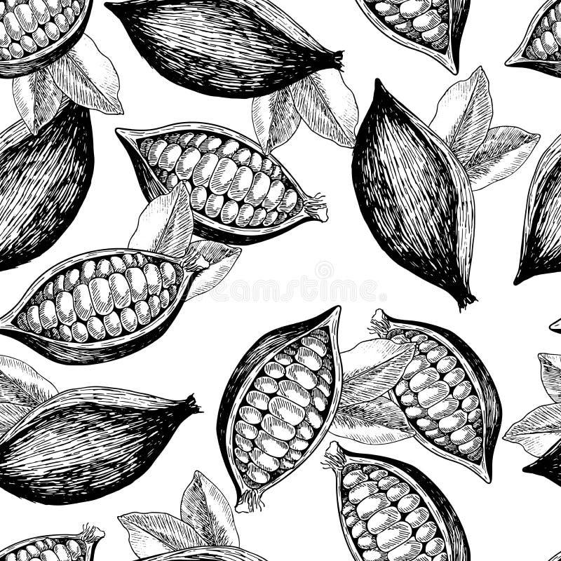 Wektorowy bezszwowy wzór kakaowe fasole i liście Ręka rysująca grawerująca sztuka Zdrowy piękno włosy odżywianie ilustracji