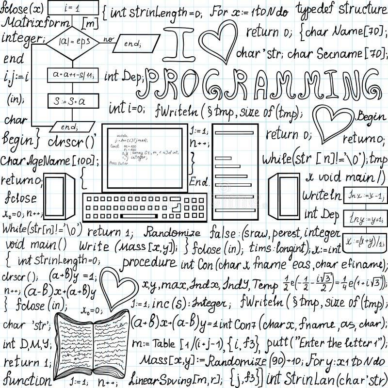 Wektorowy bezszwowy wzór kocham programowanie z kodem, komputerami i obliczeniami programowania, ilustracji