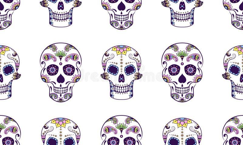 Wektorowy bezszwowy wzór kolorowe doodle cukieru czaszki ilustracji