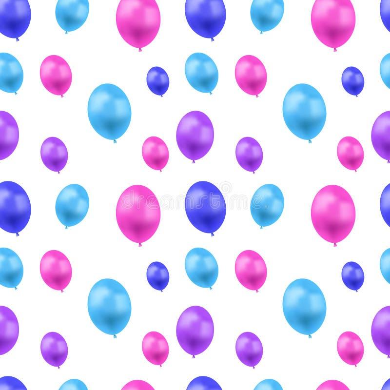 Wektorowy Bezszwowy wzór, Kolorowi balony na Białym tle, kolory, Świąteczni Ilustracyjni szablonu, błękita, menchii i purpur, royalty ilustracja