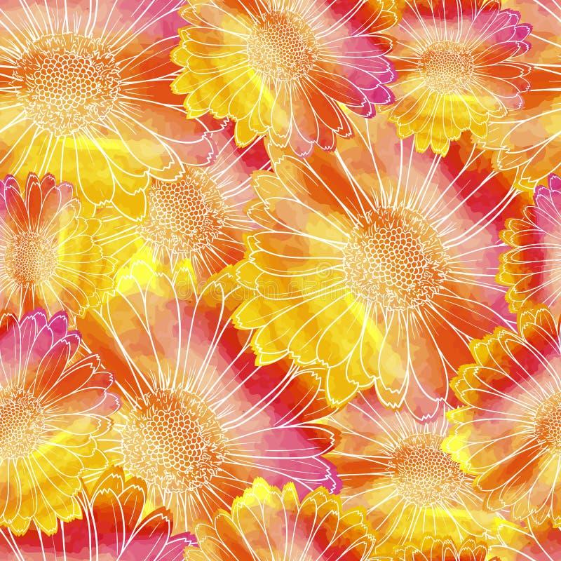 Wektorowy Bezszwowy wzór, Kwiecisty Kolorowy tło, akwarela obrazu kwiaty royalty ilustracja