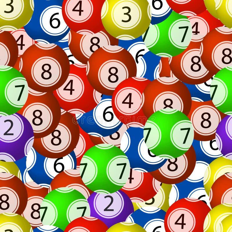 Wektorowy Bezszwowy wzór, Loteryjne piłki, Chaotyczni Kolorowi elementy Backgroun, Jaskrawi kolory ilustracji
