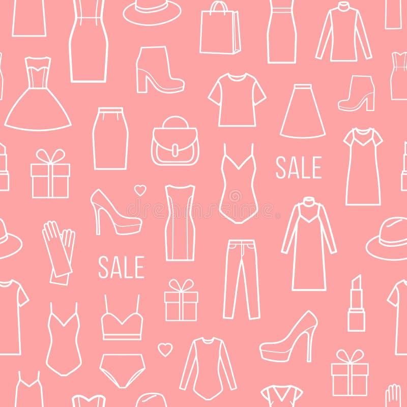 Wektorowy bezszwowy wzór mod kobiet ` s odzież ilustracja wektor