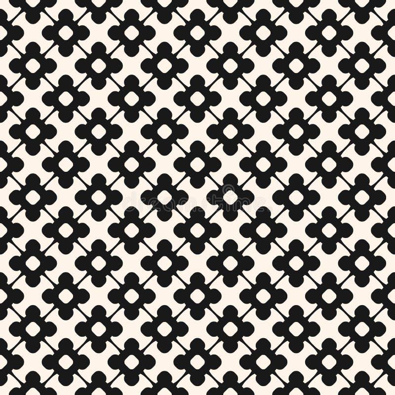 Wektorowy bezszwowy wzór, monochromatyczny kwiecisty ornamentacyjny tło ilustracja wektor