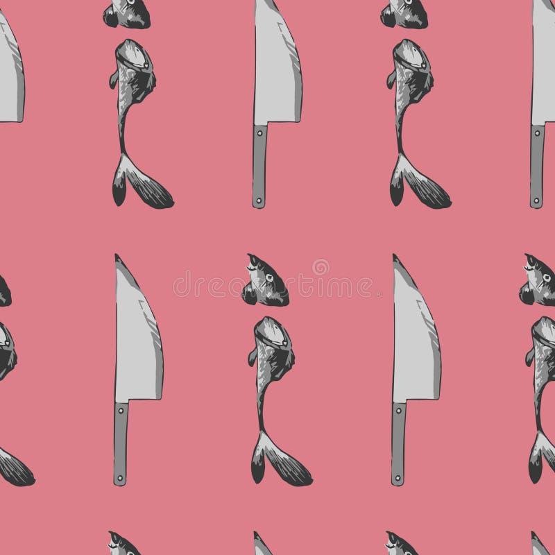 Wektorowy bezszwowy wzór nóż i pokrajać ryba na różowym tle ilustracja wektor