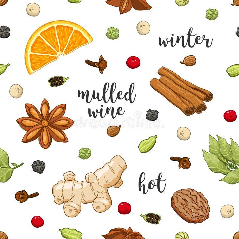 Wektorowy bezszwowy wzór na bielu z rozmyślającym winem ilustracja wektor