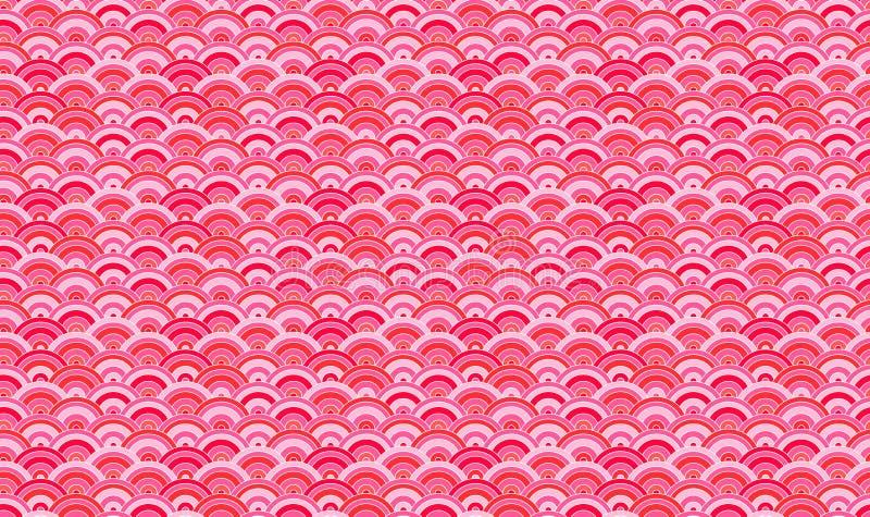 Wektorowy Bezszwowy wzór, Orientalny tło, Sakura płatków abstrakta kształty royalty ilustracja