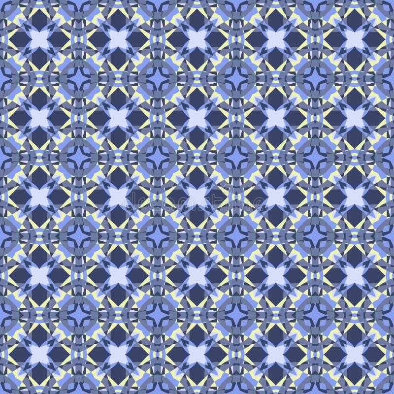 Wektorowy bezszwowy wzór, ornamentacyjny geometryczny tło Retro błękitów kolory ilustracji