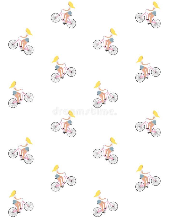 Wektorowy bezszwowy wzór płaskiej kreskówki blond dziewczyna jedzie rocznika rejsu menchii bicykl na białym tle ilustracji