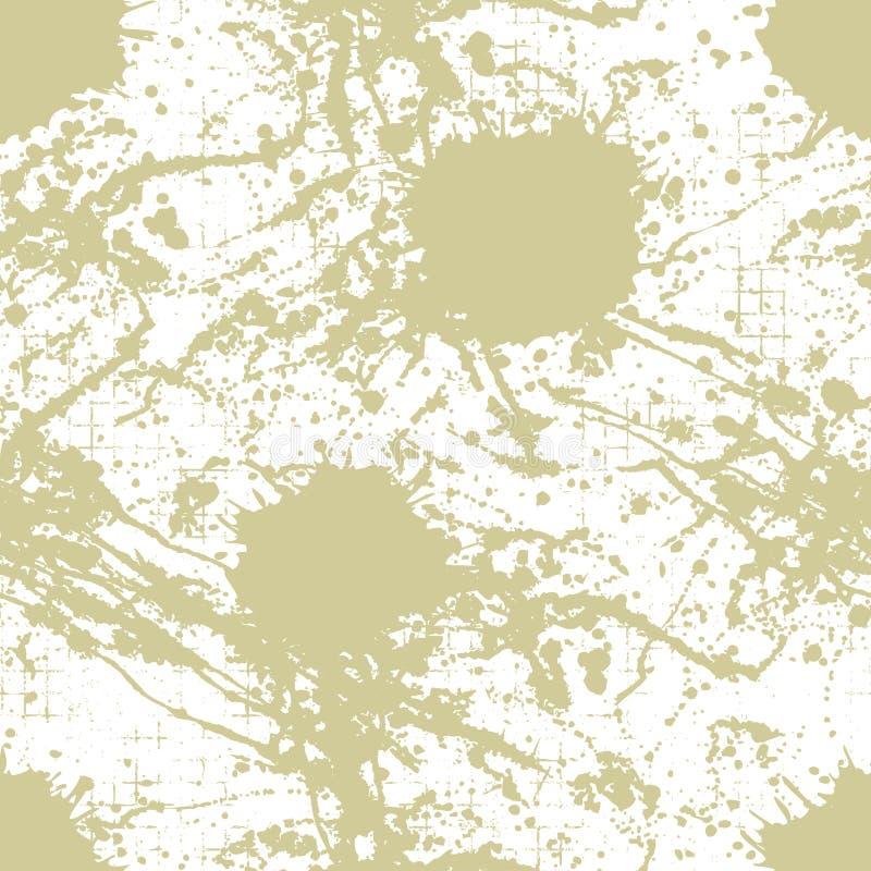 Wektorowy bezszwowy wzór, płytka z inc pluśnięciem, kleksy, smudge i muśnięć uderzenia, Grunge niekończący się szablon dla sieci  ilustracja wektor