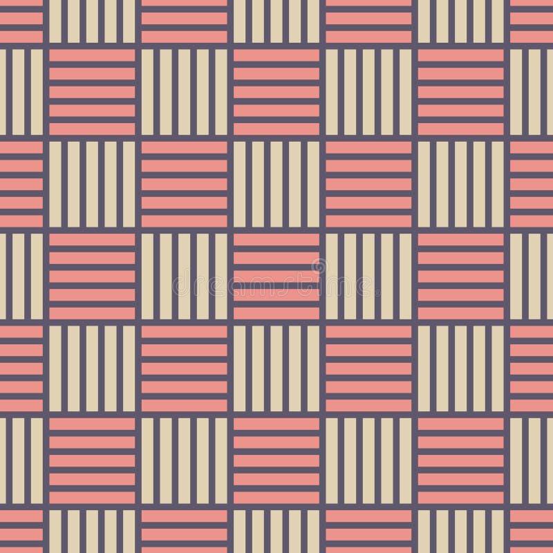 Wektorowy bezszwowy wzór przeplatani lampasy nowożytna elegancka tekstura Regularnie powtarzać paskujących kwadraty ilustracji