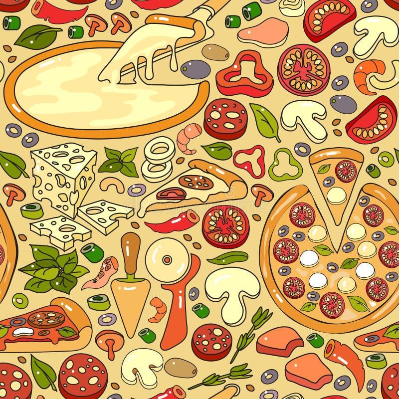 Wektorowy bezszwowy wzór ręka rysujący kolorowy pizza składnik ilustracja wektor