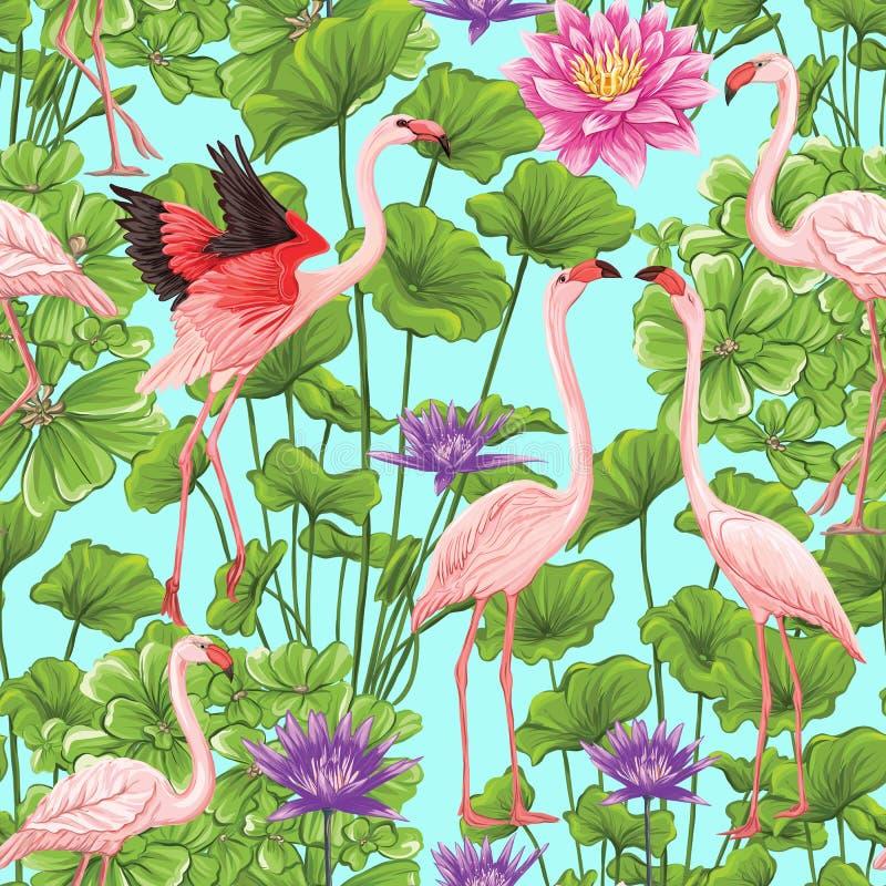 Wektorowy bezszwowy wzór, tło z flamingiem i tropikalne rośliny, royalty ilustracja