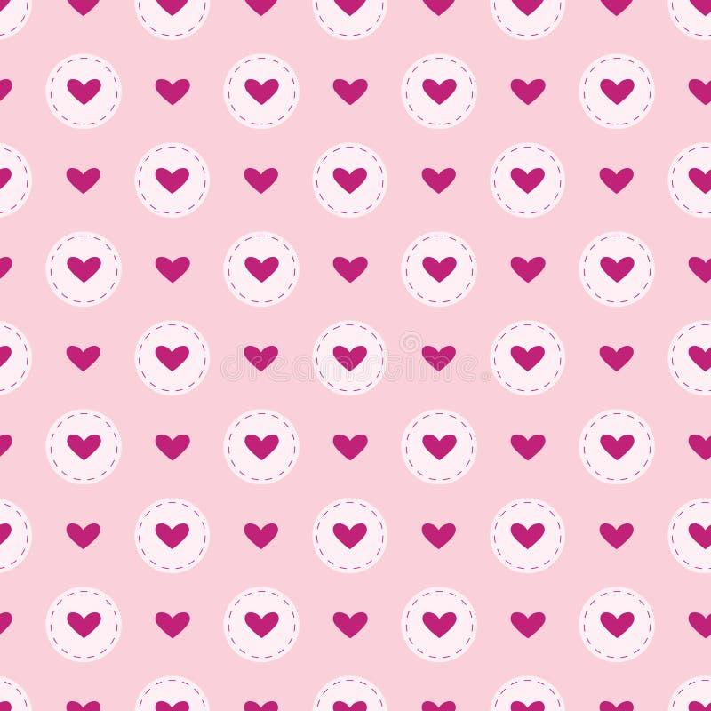 Wektorowy bezszwowy wzór uroczy tło Ilustracja serca w okręgu na różowym tle Romantyczny skład dla yo ilustracji